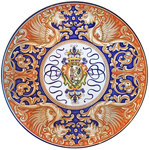 Ceramic Majolica Plate - Castle Shield/Dragons 42cm