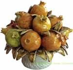 Tuscan Ceramic Centerpiece - Pomegranates Bouquet