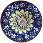 Ceramic Majolica Plate Flower Dark Blue