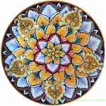 Ceramic Majolica Plate Orange Star Geode 20cm