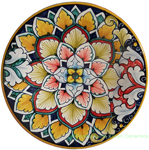 Ceramic Majolica Plate Red Green FDL