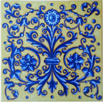 Tile Acanthus Flower Crest Blue Yellow