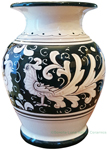 Deruta Italian Ceramic Vase Fondo Nero (Black Doves)