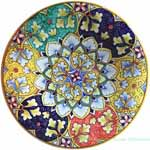 Ceramic Majolica Plate Geometrico Multi-color