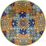 Majolica Plate - Green/Orange Geometrico 30cm