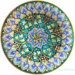 Ceramic Majolica Plate Geometrico Green 25cm