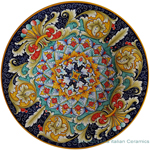 Ceramic Majolica Plate - Jubilant Red Orange Blue 47cm