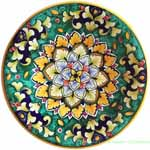Ceramic Majolica Plate Green Flower 20cm