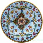 ceramic majolica plate light blue flower 20cm