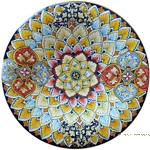Ceramic Majolica Plate - Light Blue/Red Geometrico 35cm