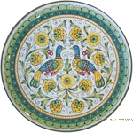 Ceramic Majolica Plate - Peacock/Lovers 35cm