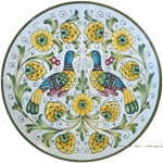 Ceramic Majolica Plate - Peacock/Lovers 30cm