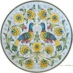 Ceramic Majolica Plate - Peacock/Lovers 30cm