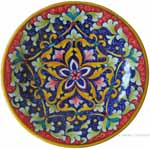 majolica plate - blue red star 20cm