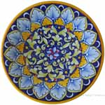majolica plate - blue yellow red G04 20cm