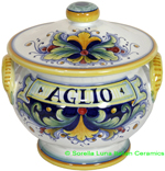 Ceramic Majolica Covered Garlic Jar