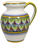 Ceramic Majolica Pitcher Green Red Yellow 964
