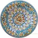 Majolica Plate - Flower/Peacock 30cm