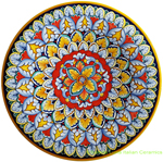 Ceramic Majolica Plate Flower Red 739 30cm