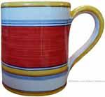 Majolica coffee mug cup - Pennellato Rossa