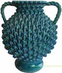 Tuscan Handmade Handled Vase - Blue with Pine