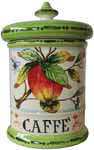 Ceramic Majolica Coffee Jar Tuscan Apple Green 20cm