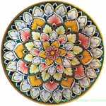 Ceramic Majolica Plate Snowflake Orange White Green 20cm