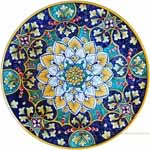 Majolica Plate - Orange Snowflake Blue/Green 30cm