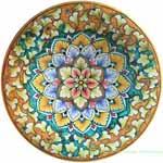 Ceramic Majolica Plate G12 Green Orange Snowflake 25cm