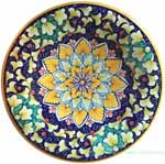 Ceramic Majolica Plate Orange Blue Green Snowflake 25cm