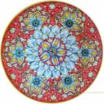 Majolica Plate - Red/Orange Starflower 30cm