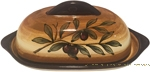 Covered Butter Dish - Brown Olive