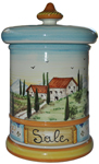Ceramic Majolica Salt Jar Tuscan Country Poppies