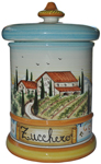 Ceramic Majolica Sugar Jar Tuscan Country Poppies
