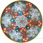 Majolica Plate - Red/Green/White Geometrico 30cm