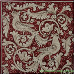Tile Fonda Rossa - Red Doves Corner 1