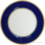 Italian Charger Plate - Yellow Border Solid Blue