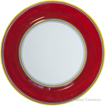 Italian Charger Plate - Yellow Border Solid Red