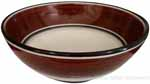 Italian Dessert/Soup Bowl - Black Rim Solid Brown - Cafe