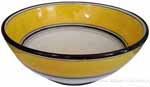 Italian Dessert/Soup Bowl - Black Rim Solid Yellow - Giallo