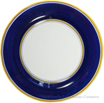 Italian Dinner Plate Yellow Rim Solid Blue