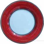 Italian Dinner Plate Black Rim Solid Bordeaux