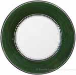 Italian Dinner Plate Black Rim Solid Green