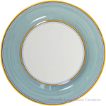 Italian Dinner Plate Yellow Rim Solid Teal