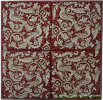 Tile Panel Backsplash - Red Doves