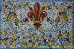 Tile Giglio Grottesche - Lily Faces Fleur De Lis (Thick Tile)