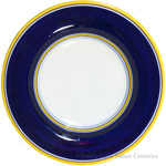 Deruta Italian Pasta Plate - Yellow Border Solid Blue