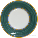 Deruta Italian Pasta Plate - Yellow Border Solid Green