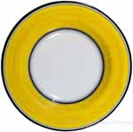 Deruta Italian Pasta Plate - Black Border Solid Yellow - Giallo