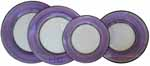 Italian Dinner Place Setting - Black Border Solid Purple - Viola